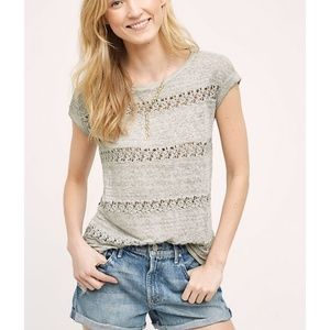 Anthropologie Akemi + Kin lattice stripe linen tee